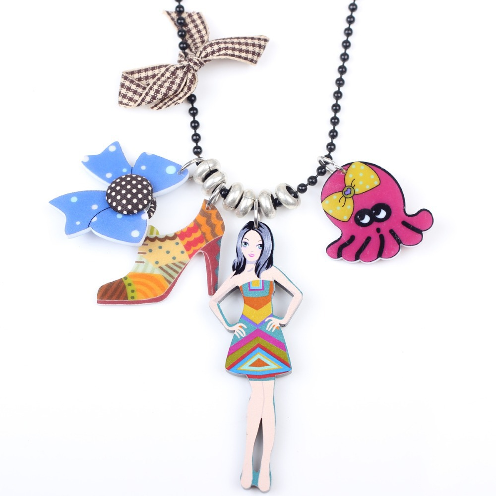 Bonsny girl doll brand necklace pendant acrylic 2015 news accessories spring summer cute design figure woman fashion jewelry(China (Mainland))