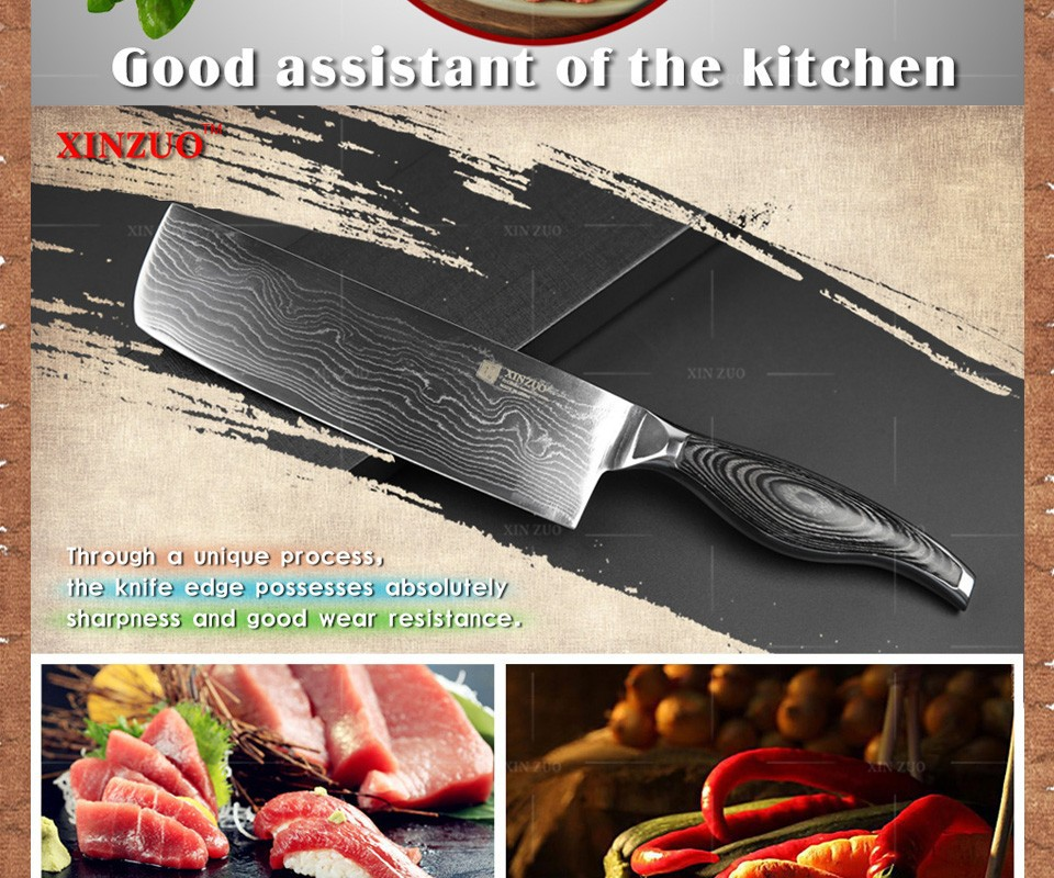 "Buy XINZUO 7""inch chef knife 73 Layers VG10 Damascus Steel kitchen knife cook knife with color wood stainless handle free shipping cheap"