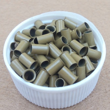 1000pcs 3.4mm long   flared flaring euro locks trumpet  copper  tube micro beads links for hair extension tool  8# dark blonde(China (Mainland))
