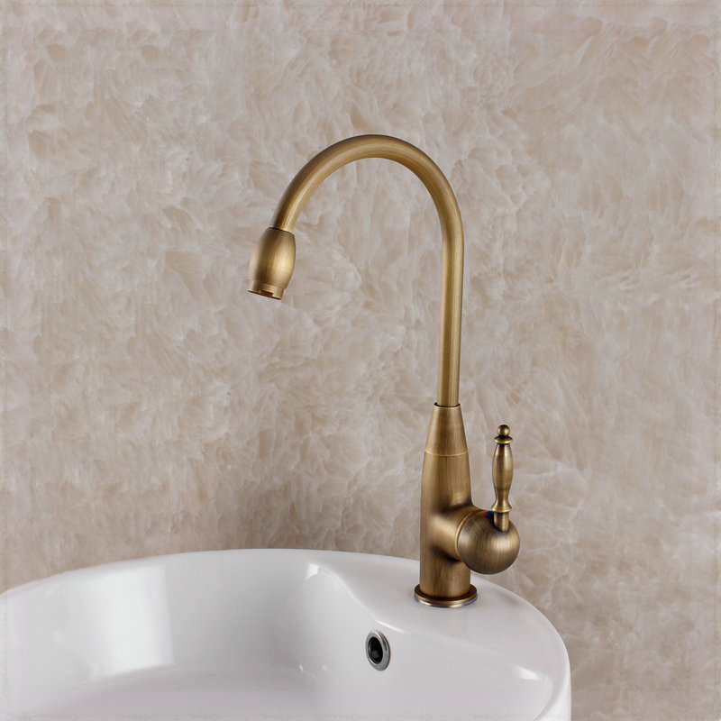 Single Hole Oil Rubbed Bronze Kitchen Faucet European Style Vintage Antique Sink Mixer Hot And