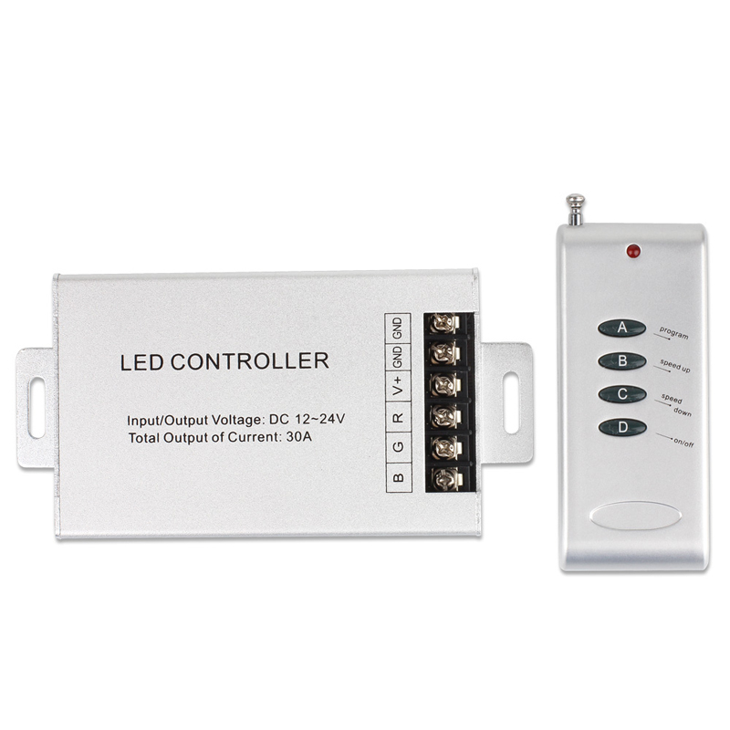 EPBOWPT 4 Key Button Aluminum DC 12-24V 30A RGB LED Wireless RF Remote Controller Dimmer for 5050 3528 RGB LED Strip Light Lamp(China (Mainland))