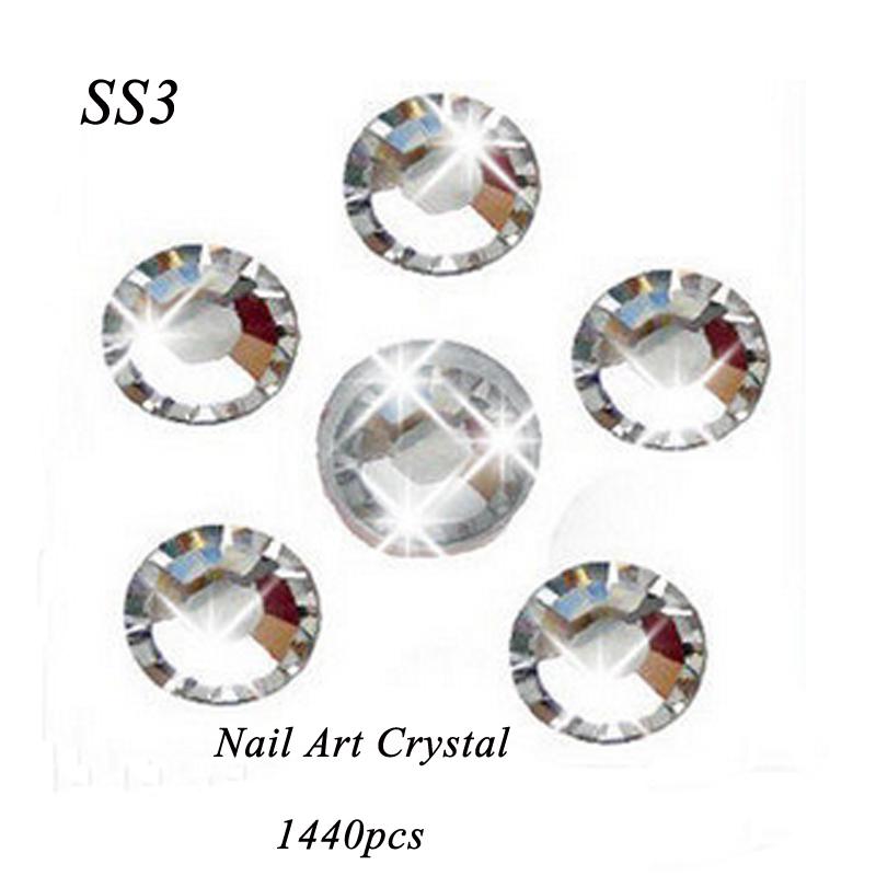 Super deal Shiny 1440PCS SS3(1.3-1.4mm) non hotfix rhinestone Clear Crystal color 3D Nail Art Decorations Flatback Rhinestones(China (Mainland))