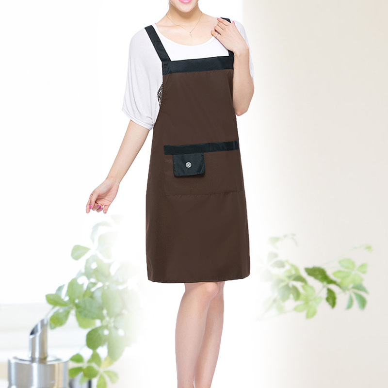 [WIT]Coffee Pvc Waterproof Adjustable Apron Uniform With 2 Pockets Hairdresser Kit Salon Hair Tool Chef Waiter Kitchen Cook Tool(China (Mainland))