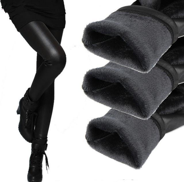 Новые 2016 загущающие черные кожаные сапоги леггинсы узкие брюки зима теплая женские брюки зимние брюки для женщин высокое качество
