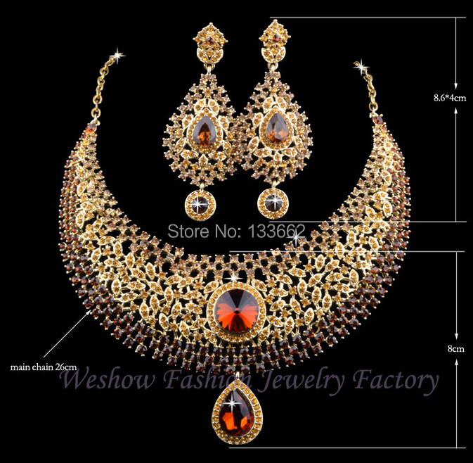 Hot Sale Champagne Rhinestone India Style Bridal Wedding crystal Jewelry Sets,Dinner Statement Necklace Earrings Free Shipping(China (Mainland))