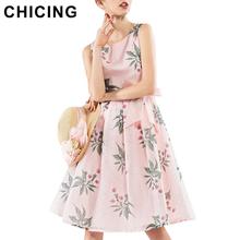 CHICING Women Pink Organza Dresses 2016 Summer Sleeveless Ties Waist Bow A Line Ball Gown Pleated Tank Dress Vestidos B1603062(China (Mainland))