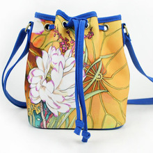 New Fashion Chinese Style Hand Floral Painted Bucket Shoulder Bag Canvas Crossbody Bag