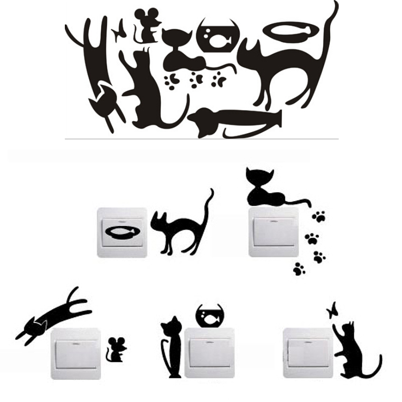 1 Set of 5pcs Funny Cute Cat Mouse Fish Light Switch Wall Decal Vinyl Stickers(China (Mainland))