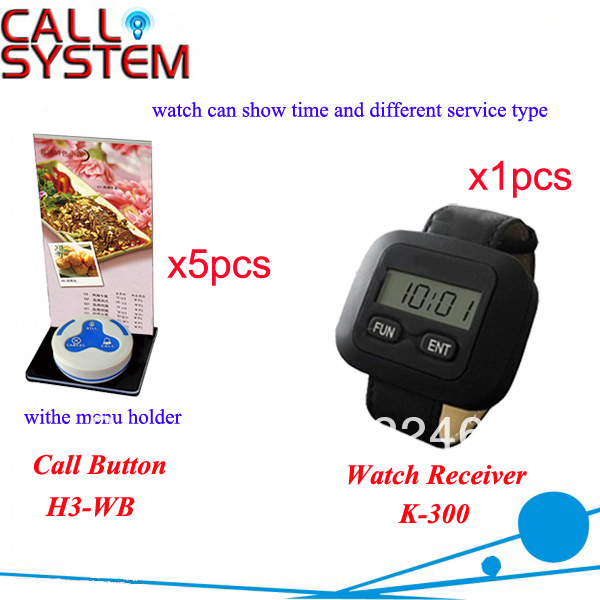 Waitress Calling System K-300+H3-WB for restaurant equipment with 3-key call button and watch pager Free Shipping(China (Mainland))