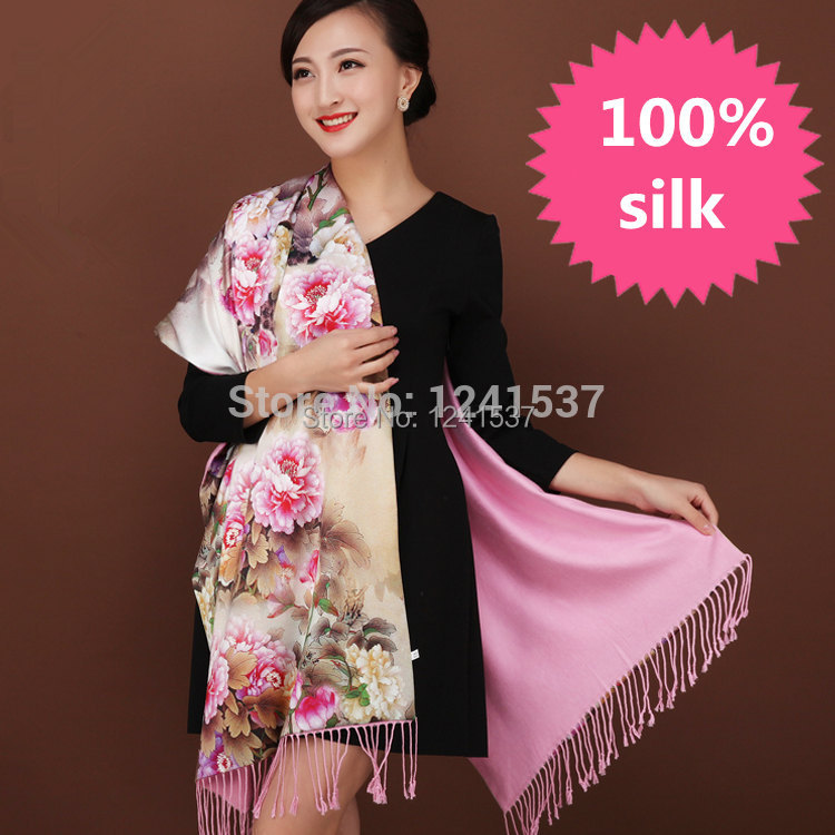 Autumn and winter mulberry silk female women real silk scarf 100% silk scarf double layer brushed design long scarf cape dual(China (Mainland))