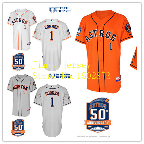 Houston Astros Carlos Correa Jerseys,Houston Astros 1 Carlos Correa Baseball Jersey w/ Commemorative 50th Anniversary Patch(China (Mainland))