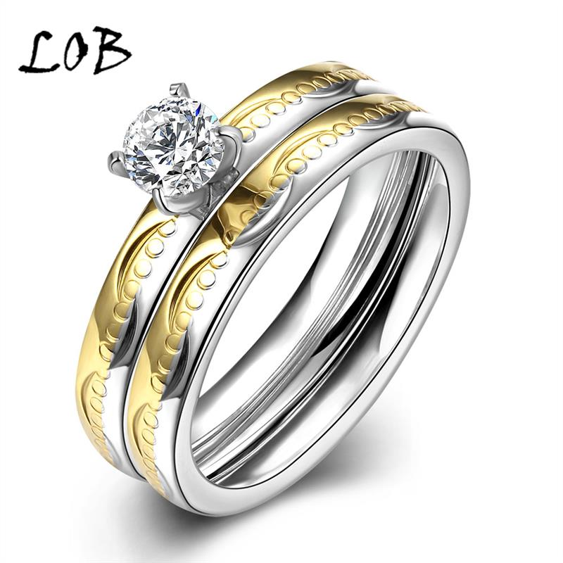 Romantic 6mm Wide Silver Gold CZ Stainless Steel Jewelry Titanium Rings For Women Men Wedding Band Engagement Party R064(China (Mainland))