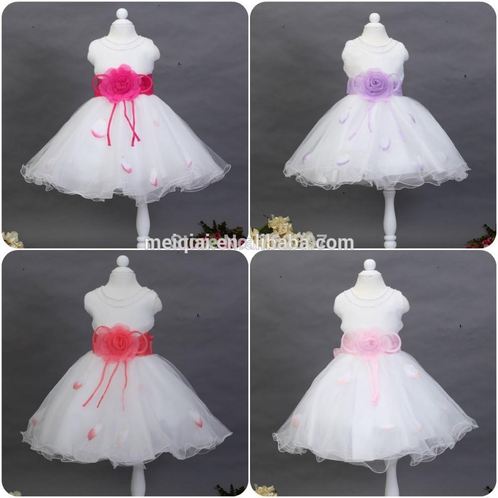 2015 new style Girl Petal party Dress Children princess belt dress with big flower 4 colors size:3-12 12pcs/lot free DHL P-119<br>