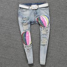 Women's Boyfriend Jeans Denim Sequins Beading Slim Skinny Pants Casual Female Balloon Pattern Long Trousers C068(China (Mainland))