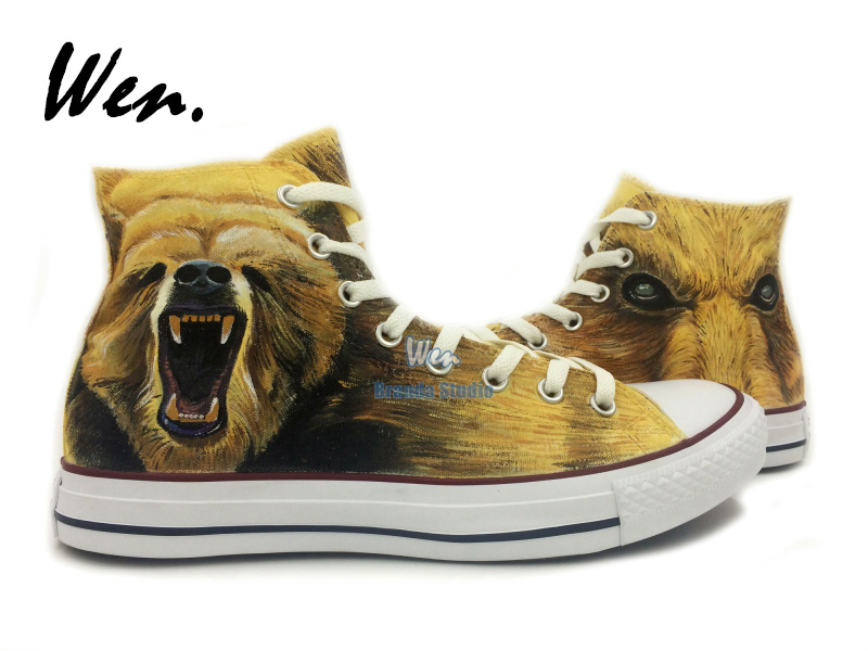 Bruins Shoes Bear Painted Canvas Shoes Custom Christmas Gifts Birthday Gifts Brown Shoes Hand Painted Art<br><br>Aliexpress