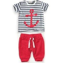 Infant Baby Boys Sets Striped T-shirt Tops+Red Pants 2pcs Outfits Toddlers Suits Clothes 0-3Y