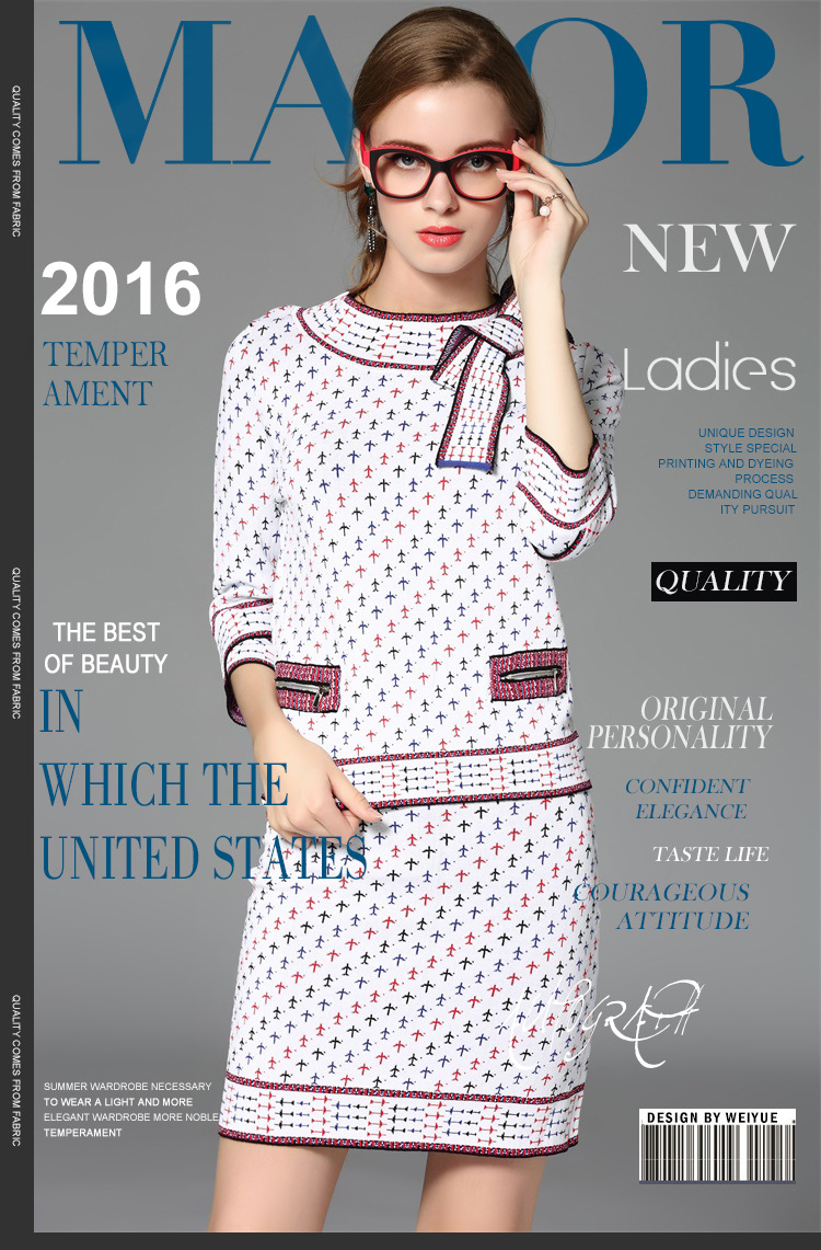 new star of the same paragraph of the aircraft and the butterfly knot knit shirt package dress two sets of women