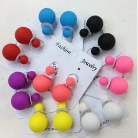 fashion rubber runway piercing/ Double faced Pearl earrings /cd women/brand Stud Earring/cc colorful beads/ free shipping /H190(China (Mainland))