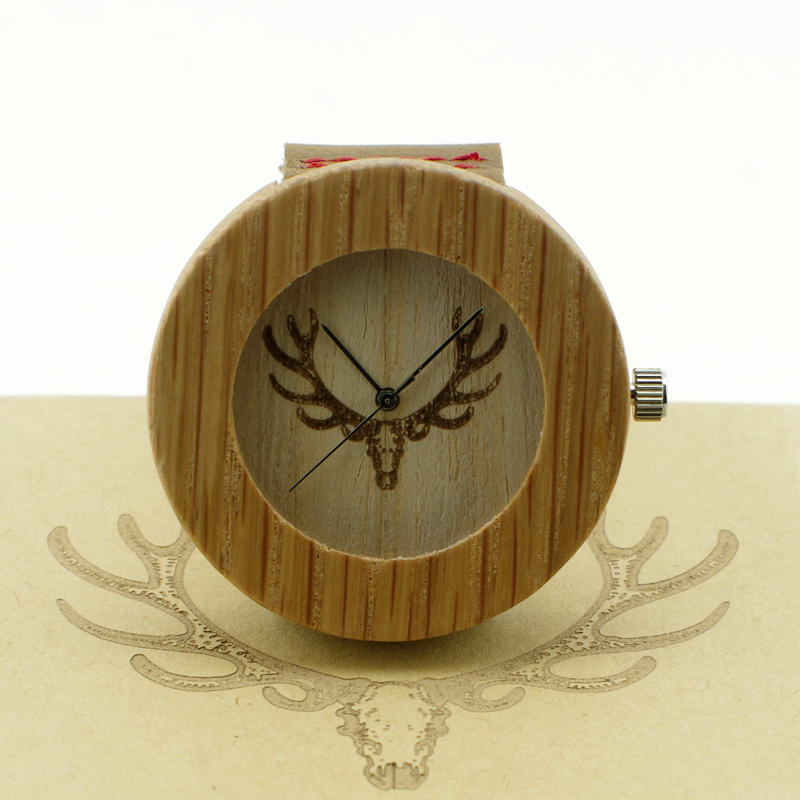 Fashion New Antique Genuine Cowhide Leather Band Lovers Luxury Watches Zebra Wood Bamboo Wristwatch with deer head<br><br>Aliexpress