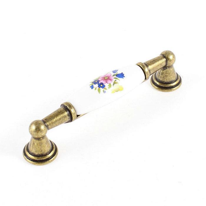 96mm Dresser Pull White Ceramic Antique brass Hardware Drawer Pulls Handles Cabinet Knob Kitchen Furniture Handle Modern