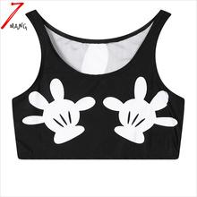 2016 summer women cotton comfortable harajuku cartoon hands print short slim stretchy holiday tank top
