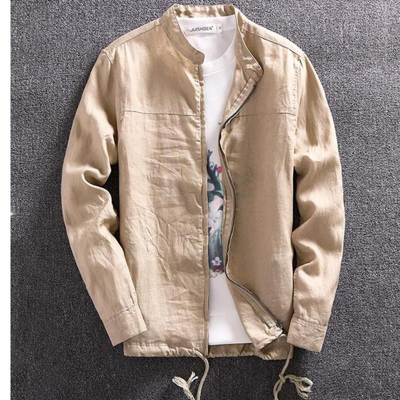 2016 New Spring Thin Linen Shirts Men Mandarin Collar Slim Fit Casual Linen Shirt For Men Japanese Style Long Sleeve Shirt Q1894(China (Mainland))