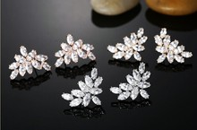 New Arrival AAA Cubic Zircon Micro Paved flower CZ Korean Style Stud Earrings For Women Fashion Jewelry(China (Mainland))