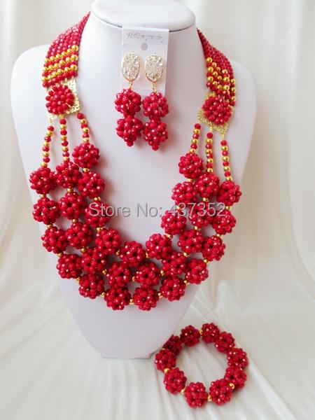 Здесь можно купить  2015 New! Opaque Red Ball costume nigerian wedding african beads jewelry sets crystal necklaces bracelet earrings NC2164  Ювелирные изделия и часы