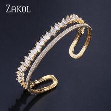 ZAKOL נשים תכשיטים מדהים כסף צבע מעוקב Zirconia מחובר טניס צמיד לנשים גבירותיי FSBP167(China)