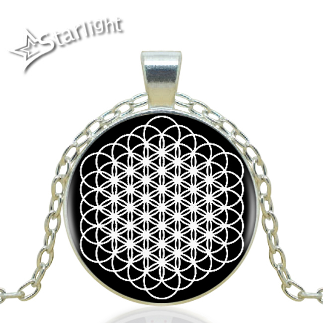 1pcs/lot Flower Of Life Logo Pendant Necklace Handmade Silver Vintage Chain Choker Statement Necklace Jewelry AL-8051(China (Mainland))