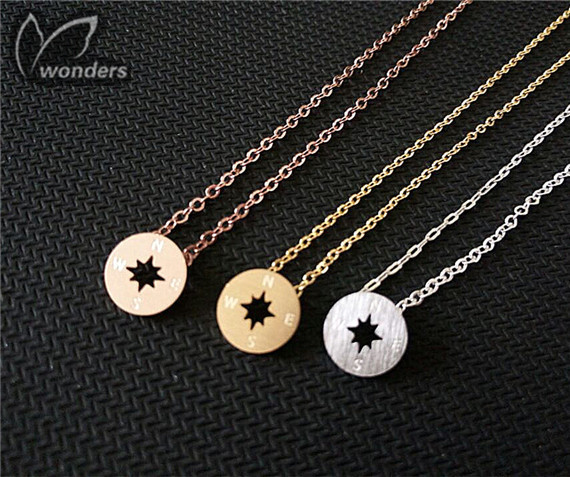 Travel Jewelry  Stainless Steel  Necklaces   Magnetic Compass Pendant Necklaces 18K Gold Silver Compass  for Women Men <br><br>Aliexpress