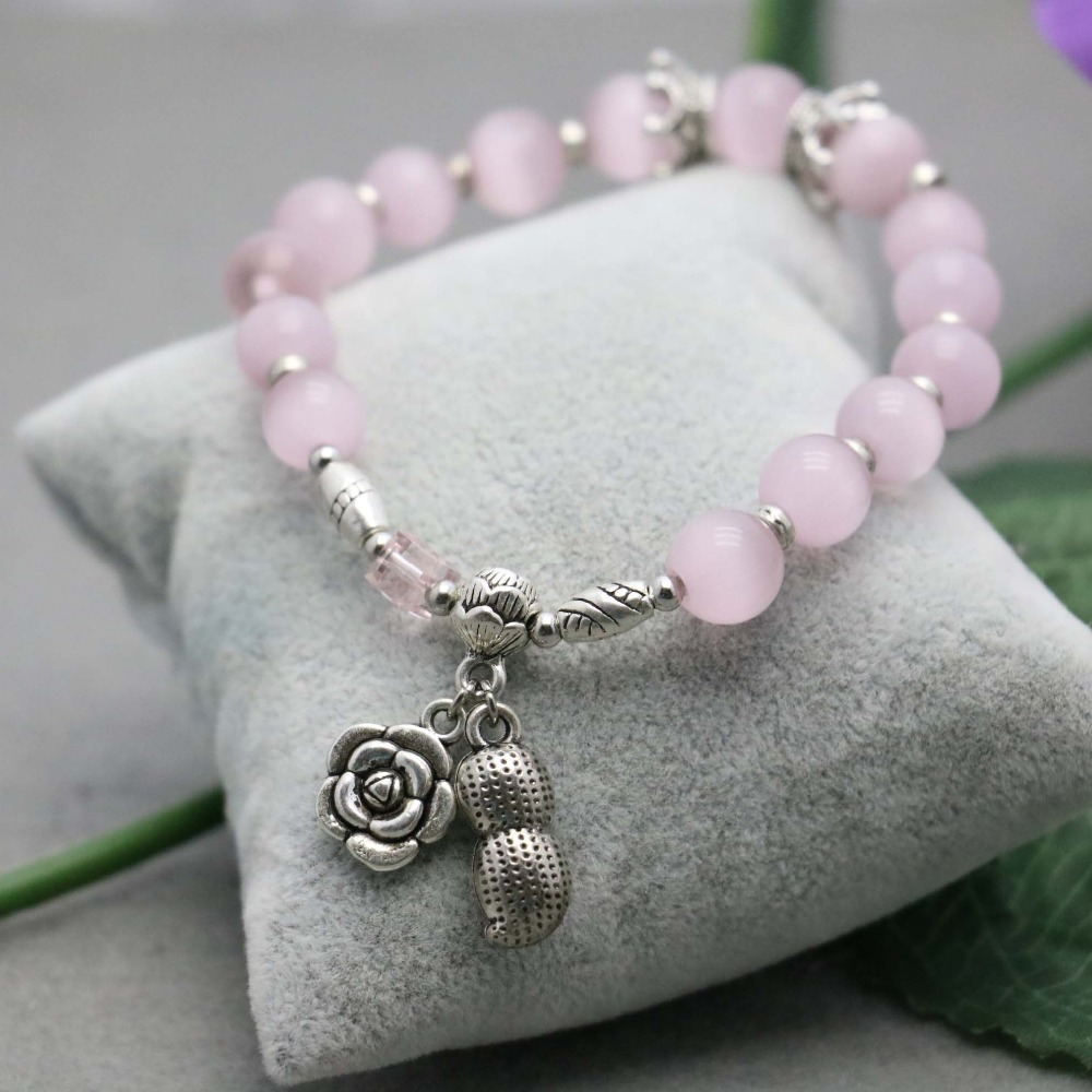 Retro Ethnic style Pink Crystal Lucky Cat eye Opal stones Bracelet hand chain for women girls Ladies beads Silver Pendant(China (Mainland))