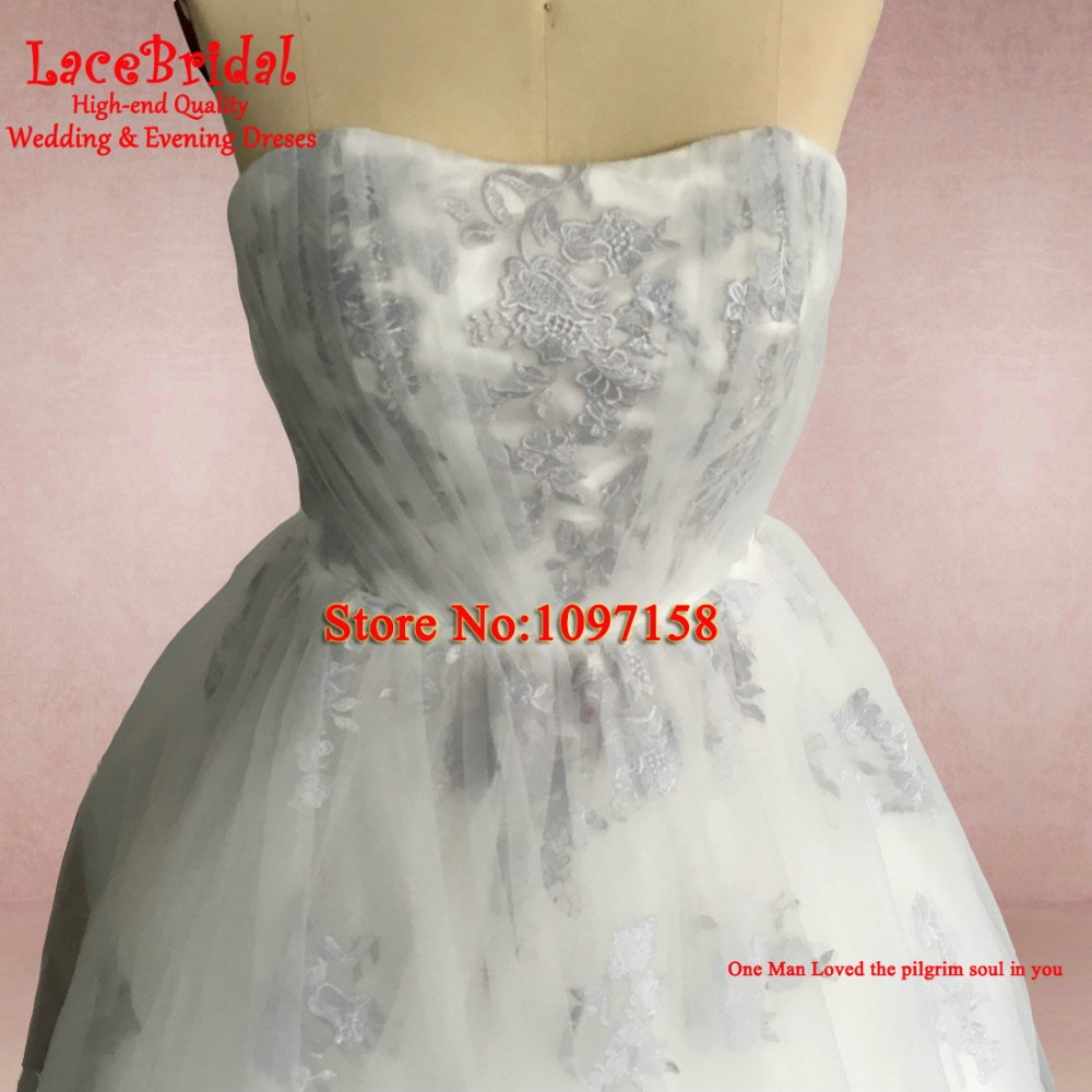 Real Romantic Ball Gown Ivory and Grey Applique Lace Wedding Dresses 2017 vestidos de noiva Puffy Bridal Gowns Custom Made BLW71 13