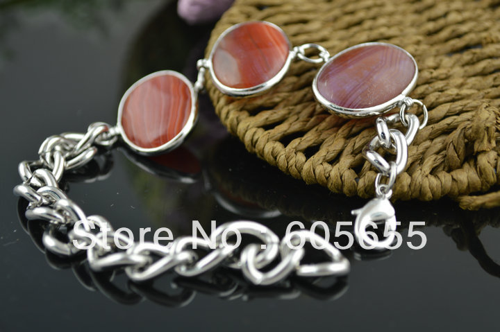 High Quality Red Veins Agate Cabochons Big Sailor Chains Lobster Clasp Bracelet Fashion Jewelry 5 pc /Lot Free Shipping(China (Mainland))