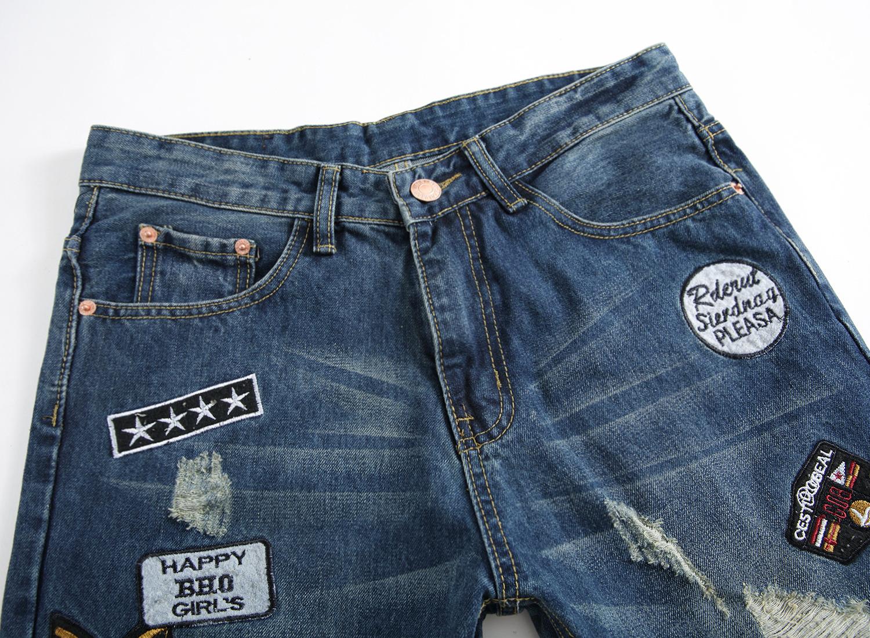 Fashion Embroidery Straight Denim Jeans Men Pants Cotton Robin Skinny Men's Biker Jeans 2016 Zipper Jeans Men Slim Trousers D2