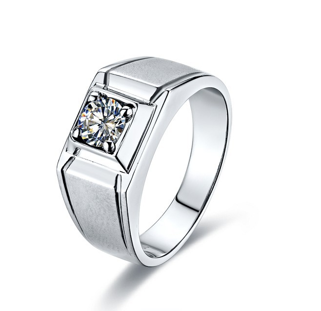 0.5CT Synthetic Diamond Ring For Man Engagement Sterling Silver Wedding Jewelry Man Ring 18K White Gold Plate Men Jewellery Ring(China (Mainland))
