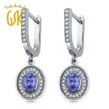 Buy GemStoneKing 1.50 Ct Oval Natural Blue Tanzanite Earrings Women Solid 925 Sterling Silver Dangle Earrings Fine Jewelry for $48.59 in AliExpress store