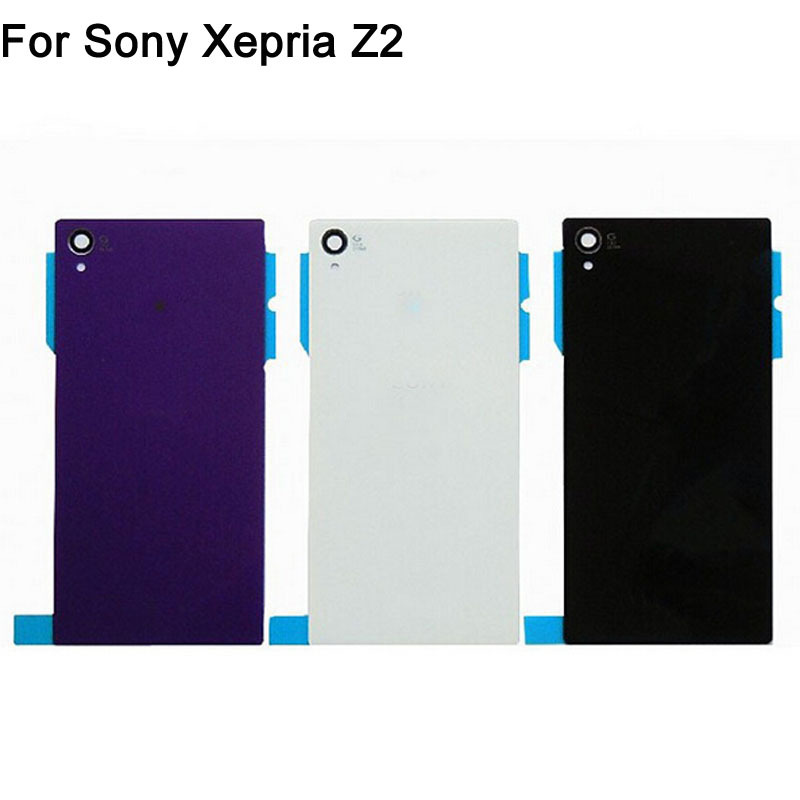 Rear Glass For Sony Xperia Z2 L50W D6503 D6502 D6543 Housing Battery Door Back Cover Replacement Black White Purple Color(China (Mainland))