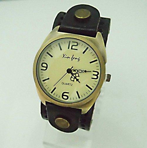 Christmas gift Black Real Cow leather belt wrist watch Wholesale Luxury Wrap Unisex Round wrist watch KOW028 Min order=15usd(China (Mainland))