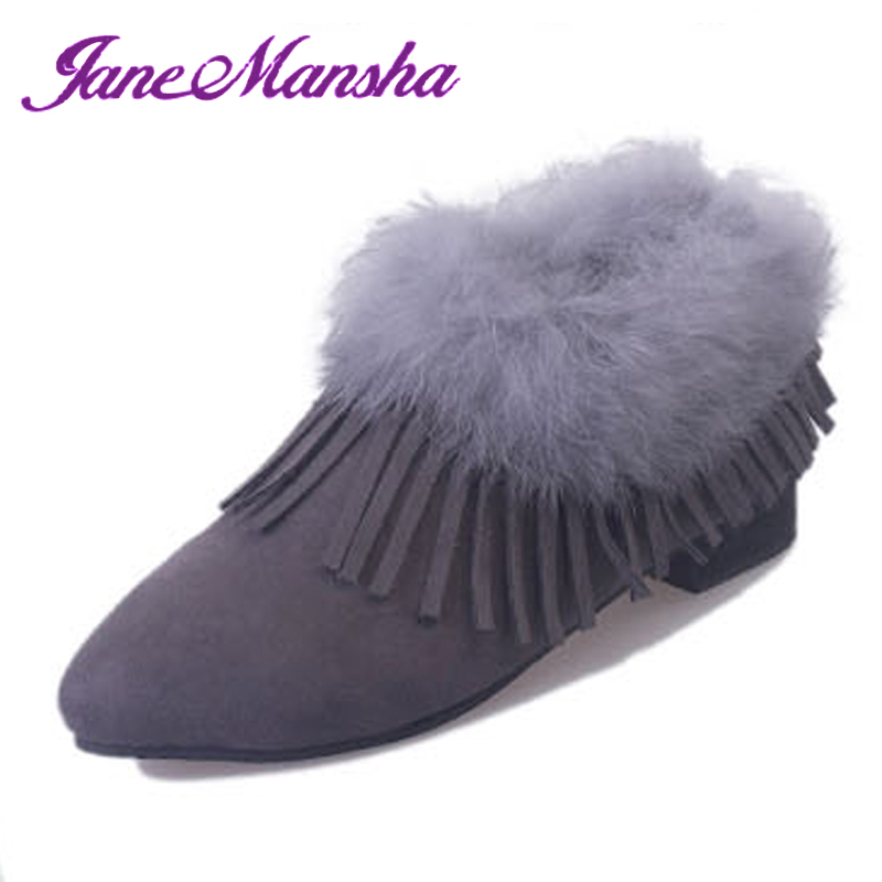 New Autumn Winter Ankle Boots Women SWEET Tassel Flock Pointed Toe Slip On 2.5CM Heels Short Plush Winter Boots Snow PWB026(China (Mainland))