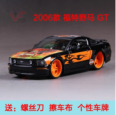 Ford Mustang GT Maisto 1:24 Simulation alloy car model Harley-Davidson modified version Racing Collection fast and Furious(China (Mainland))