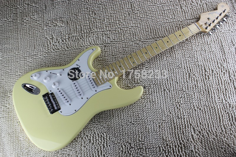 2019 Free shipping 2015 High Quality 6 Strings left hand stratocaster Cream yellow Electric Guitar(China (Mainland))