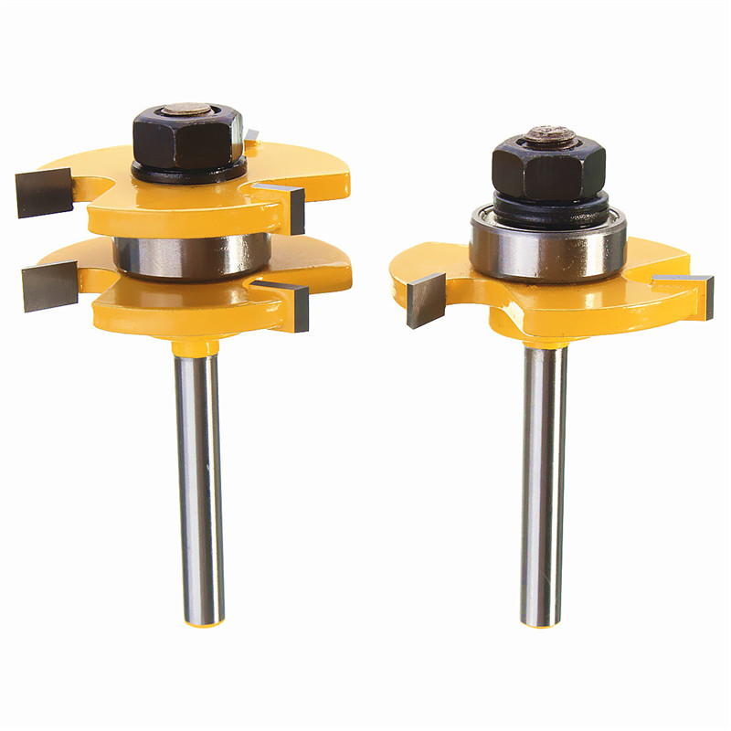 Hot 2pcs Wood Drill Bit 1/4 Inch T type Shank 3 teeth Tenon Wood Cutter Floor Handmade Milling Cutter for Woodworking Drilling<br><br>Aliexpress