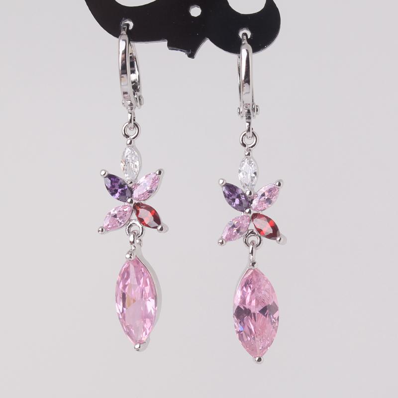 Smart Pink Long Earrings Womens 18k White Gold Plated Ladies Perfect Dangle Drop Earing Jewellery Pendientes De Pedreria E042b(China (Mainland))