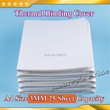 10Pieces (210*297mm) A4 Size  3MM 25 Sheets Capacity 70g Pages Bind Notebook Cover for Hot Glue Thermal Binding White(China (Mainland))