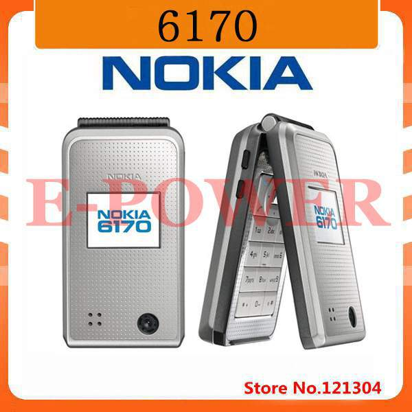 Original unlocked Nokia 6170 mobile phone Flip phone Double screen multilingual Free Shipping Refurbished(China (Mainland))