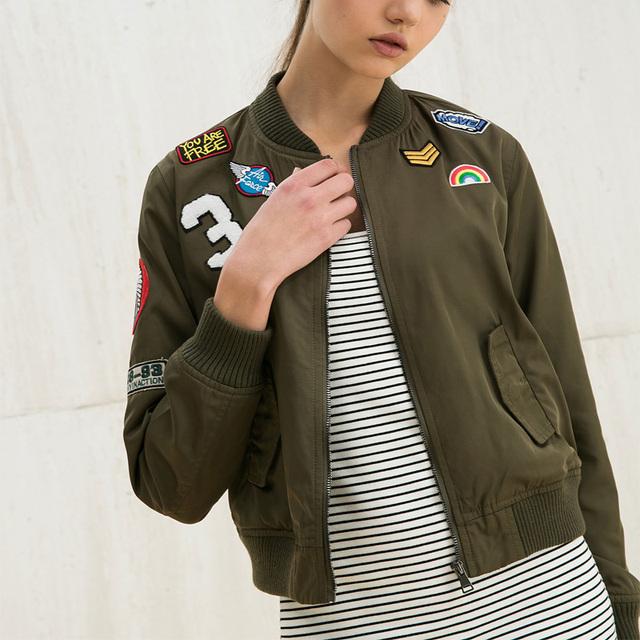 2016 пальто женщин новый Европейский стиль моды случайные куртку патч буквы с длинными ...
