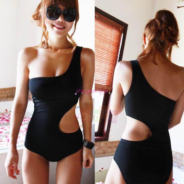 Sexy curve Black One Shoulder Monokini One Pc Swimsuit Bathing Swimwear Bikini(China (Mainland))