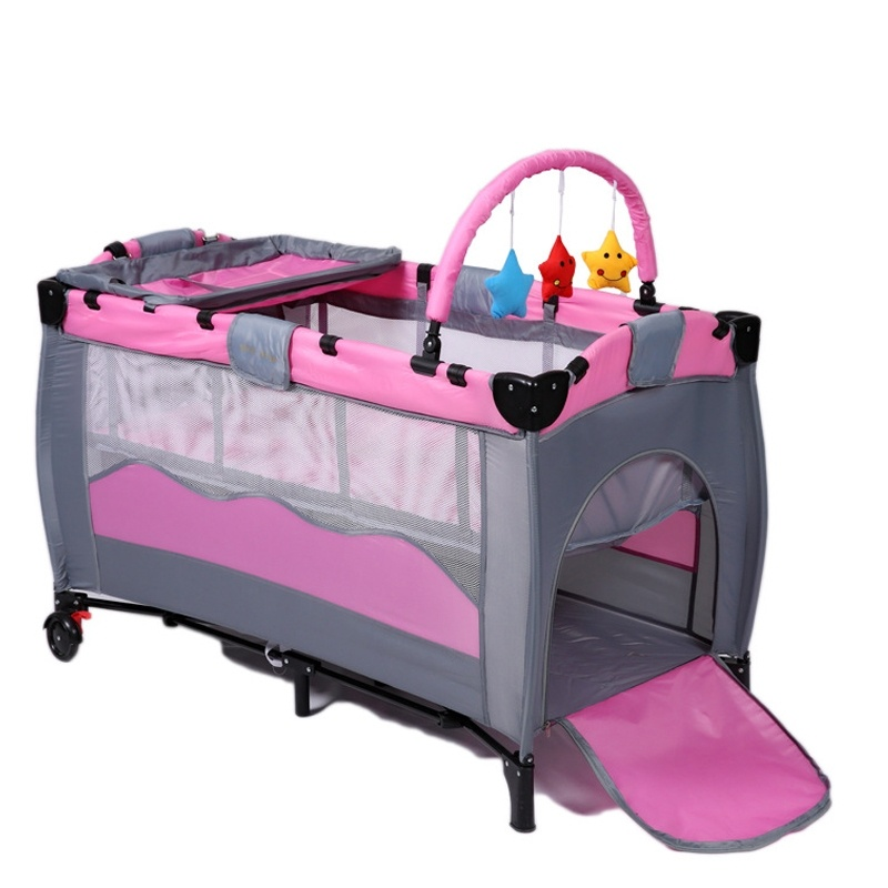 baby cribs with trolley,it is foldable game beds<br><br>Aliexpress