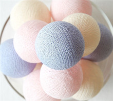 20 Balls/pcs Pink Cream Lavender/purple mixing Cotton Ball String Fairy lights Party home Patio wedding Romantic decor(China (Mainland))